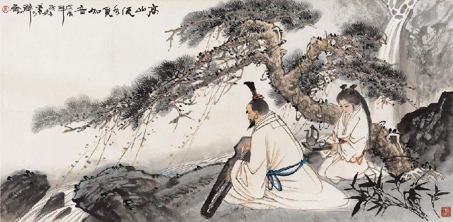 中国四大古琴图片手绘图